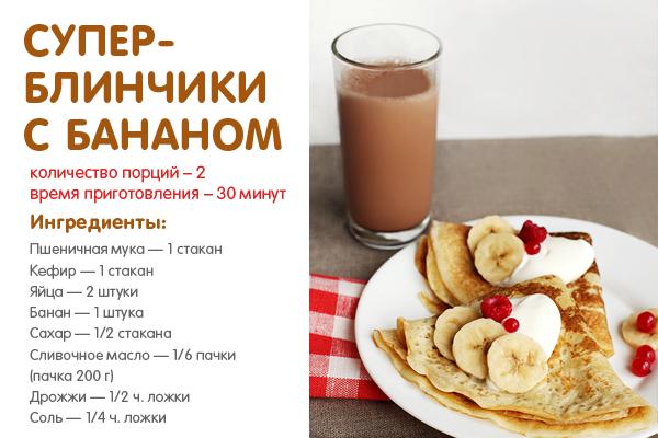 Блины с бананами фото рецепты с фото